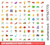 100 barbecue party icons set in ... | Shutterstock . vector #597567770