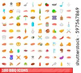 100 barbecue icons set in... | Shutterstock . vector #597567869