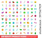 100 beauty product icons set in ... | Shutterstock . vector #597567929