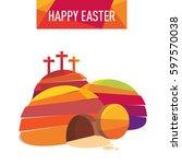 easter resurrection cave jesus...   Shutterstock .eps vector #597570038