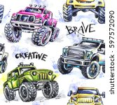 Stock photo watercolor seamless pattern cartoon monster trucks colorful extreme sports background x 597572090