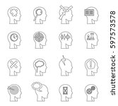 head logos icons set. outline... | Shutterstock . vector #597573578