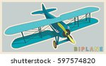 Blue Biplane In Vintage And...