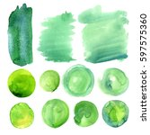 set of watercolor stains of... | Shutterstock . vector #597575360