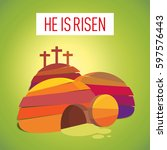 easter resurrection cave jesus...   Shutterstock .eps vector #597576443
