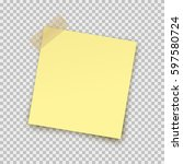 post note paper sticker pin on... | Shutterstock .eps vector #597580724