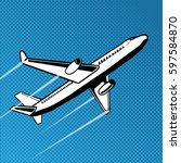 plane takes off pop art style....   Shutterstock . vector #597584870