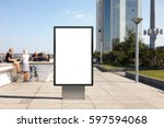 blank advertising stand on city ... | Shutterstock . vector #597594068
