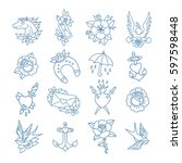 doodle icon. traditional tattoo ... | Shutterstock .eps vector #597598448