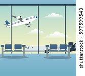 waiting room airport plane | Shutterstock .eps vector #597599543