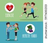brochure exercise food healthy | Shutterstock .eps vector #597600203