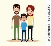 father mother and son family | Shutterstock .eps vector #597601550