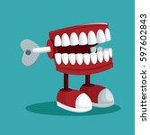 april fools day teeth practical ... | Shutterstock .eps vector #597602843