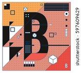 vector letter b memphis style... | Shutterstock .eps vector #597609629