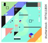 vector letter b memphis style... | Shutterstock .eps vector #597611804