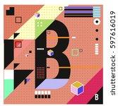vector letter b memphis style... | Shutterstock .eps vector #597616019