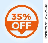 35  off circle sign icon.... | Shutterstock .eps vector #597626030