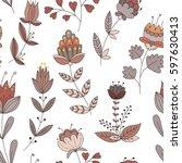 vector flower pattern. colorful ... | Shutterstock .eps vector #597630413