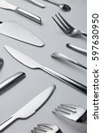 metal knife and fork spoon... | Shutterstock . vector #597630950
