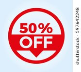 50  off circle sign icon.... | Shutterstock .eps vector #597642248