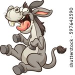 crazy cartoon donkey. vector... | Shutterstock .eps vector #597642590