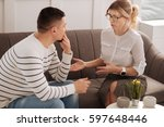 positive professional therapist ... | Shutterstock . vector #597648446