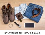men's casual outfits and... | Shutterstock . vector #597651116