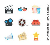 cinema and movie vector icons... | Shutterstock .eps vector #597652880