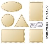 Aged Postage Stamps Vector Set...