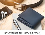 documents  pen  belt and a... | Shutterstock . vector #597657914