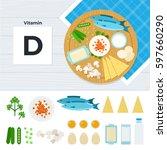 vitamin d flat illustrations.... | Shutterstock . vector #597660290
