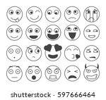 set of smiley emoticons. vector ... | Shutterstock .eps vector #597666464