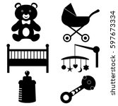 baby icons   Shutterstock .eps vector #597673334
