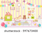 kids club  illustration. flat... | Shutterstock .eps vector #597673400