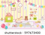 kids club  illustration. flat... | Shutterstock .eps vector #597673400
