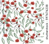 floral cherry blossom seamless...   Shutterstock .eps vector #597676238