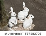 Small photo of Hares. December 10, 2016. Pattaya. Thailand. Nong Nooch Park. Hare family. White hares.
