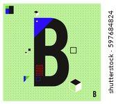 vector letter b memphis style...