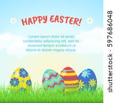happy easter greeting card or... | Shutterstock .eps vector #597686048