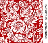 vector seamless red and white... | Shutterstock .eps vector #597686393