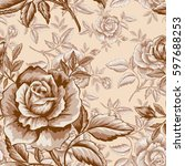 seamless pattern with roses for ... | Shutterstock .eps vector #597688253