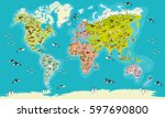 world map  highly detailed... | Shutterstock .eps vector #597690800