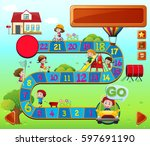 boardgame template with kids...   Shutterstock .eps vector #597691190