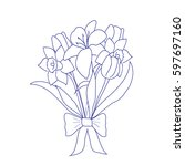 bouquet of flowers on a white... | Shutterstock .eps vector #597697160