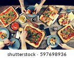 domestic food and homemade... | Shutterstock . vector #597698936