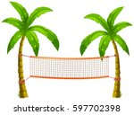 Volleyball Net On Coconut Tree...