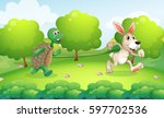 Stock vector turtle and rabbit running in park illustration 597702536