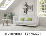 white room with sofa and green... | Shutterstock . vector #597703274