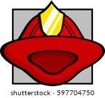 firefighter helmet | Shutterstock .eps vector #597704750