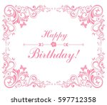 happy birthday card.... | Shutterstock .eps vector #597712358